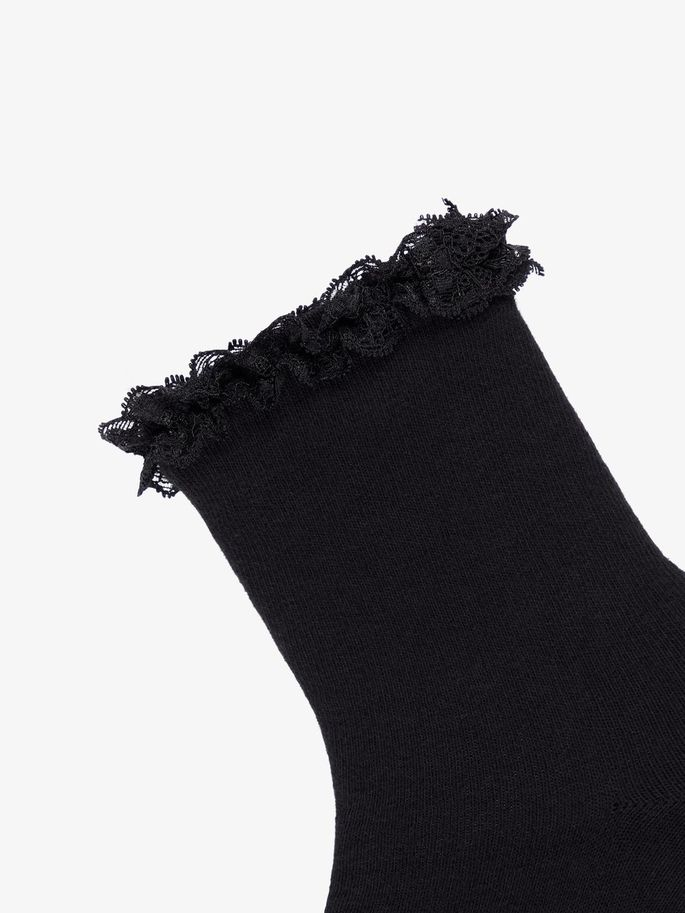 84262206 Name it, Nkfsock kids 2pk svarte sokker m/ blonder - Knerten og ...